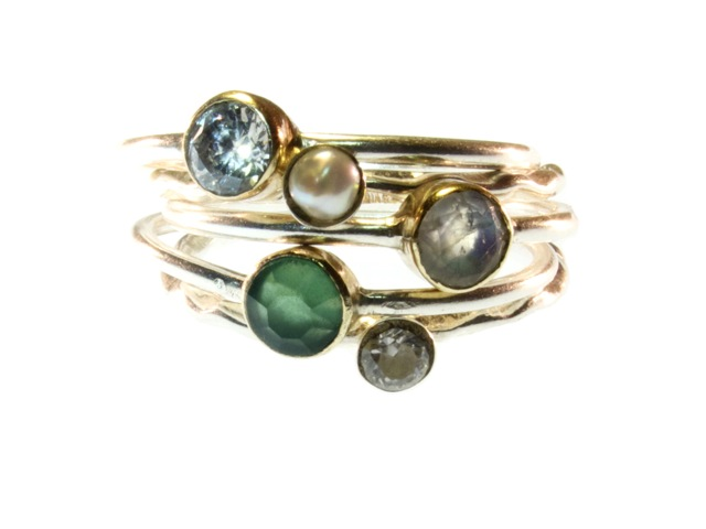 Combination Of Five Small Stack Rings Silver With Stone