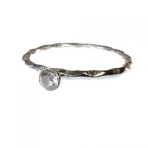 Small Stack Ring Silver With Zircon – R1158