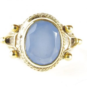 R7703-V Blauwe Chalcedoon Hippy Chic Ring
