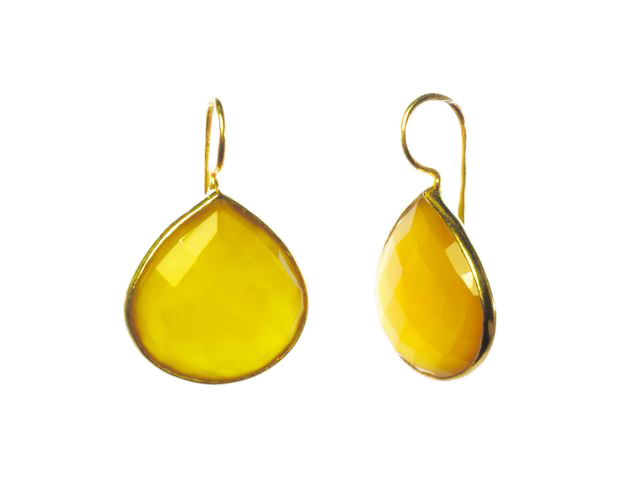 Fat Tear Drop Earrings Yellow Onyx In Fine Setting – E1418