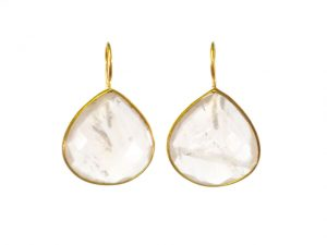 Fat Tear Drop Earrings Rose Quartz In Fine Setting – E1418