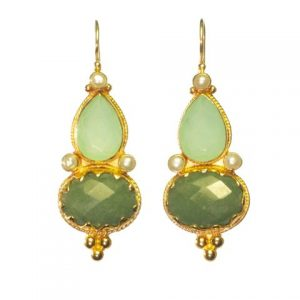 Etruscan Long Earring Chalcedony Jade And Pearl – E1317