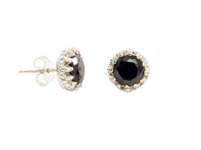 Zilveren stekers in kroonsetting zwarte onyx