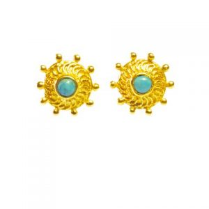 Stud Earrings With Turquoise Inspired By Rajasthan Nose Stud