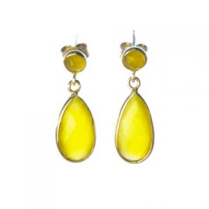 Silver Classic Studs Yellow Onyx Tear Drops