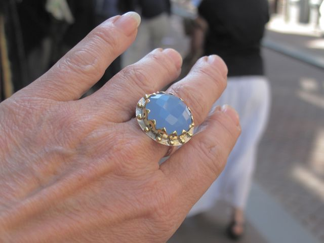 R1139 V Big Cocktail Blue Chalcedony Ring