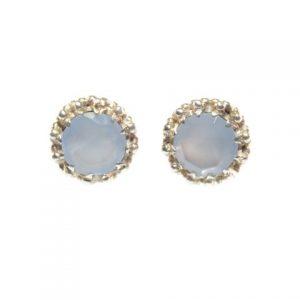 Stud Silver Earrings Blue Chalcedony In Crown Setting – E91109