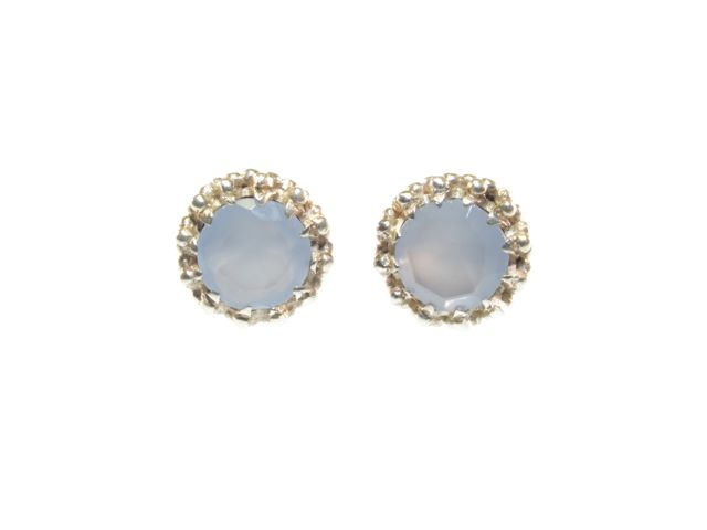 Stud Silver Earrings Blue Chalcedony In Crown Setting – E91109