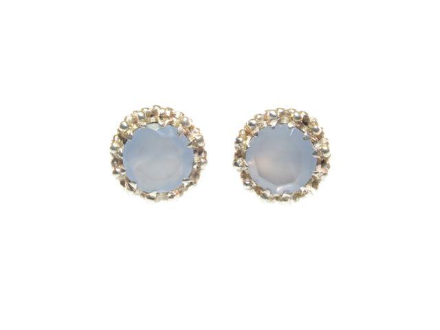 E91109-Z zilver stekers in kroonsetting blauwe chalcedoon
