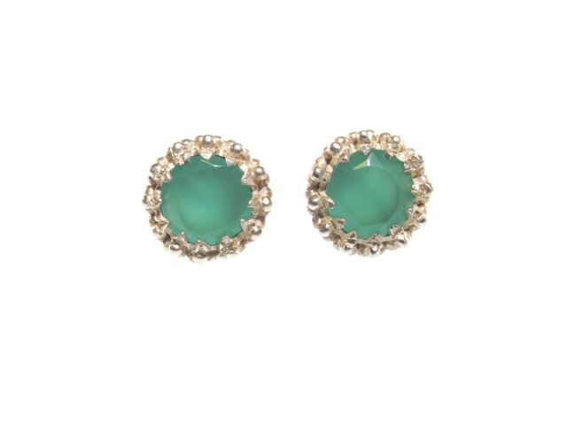 Stud Green Onyx Earrings In Crown Setting – E91109