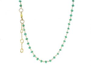 Short Necklace Facet Cut Green Onyx – N8330