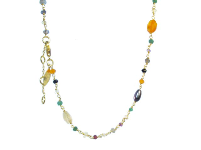 Short Necklace Facet Cut Multi Color Gems – N8330