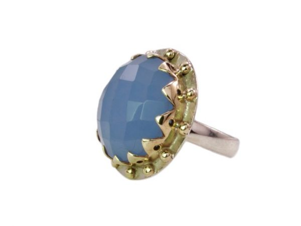 Grote cocktail ring blauwe chalcedoon R1193