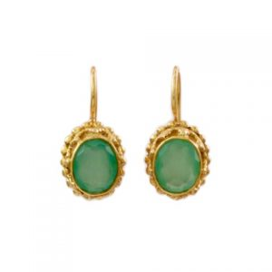 Oval Earring Aqua Chalcedony Etruscan Antique Replica – E3b