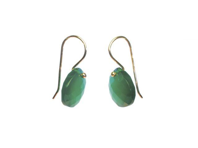 E8001 G Pear Drop 14 Crt Green Onyx Earrings