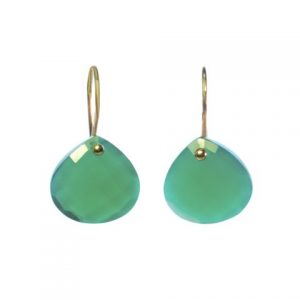 Green Onyx 14k Gold Tear Drop Earrings – E8001