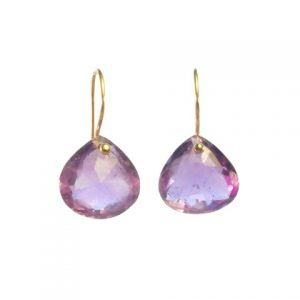 Amethyst 14k Gold Tear Drop Earrings – E8001