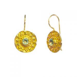 Aqua Zircon Etruscan Coin Earring – E8326