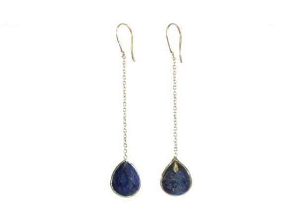 Zilver kettinkje oorbel lapis lazuli E9546-Z
