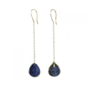 Silver Chainlet Earring Facet Cut Lapis Lazuli Drop – E9546