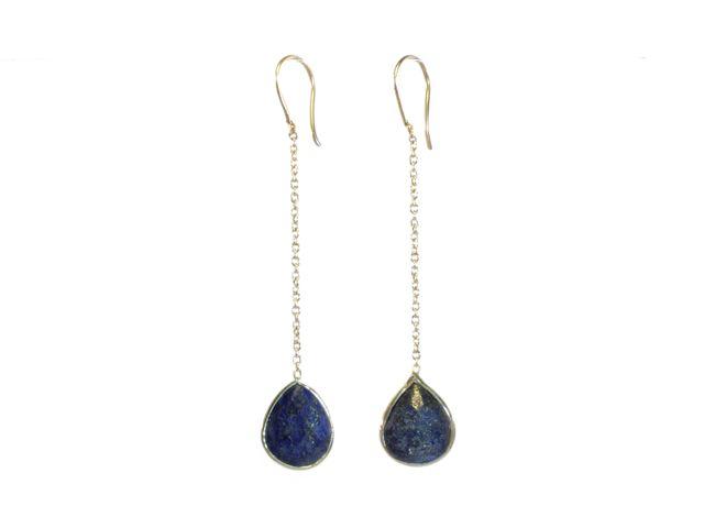Silver Chainlet Earring Facet Cut Lapis Lazuli Drop – E9546