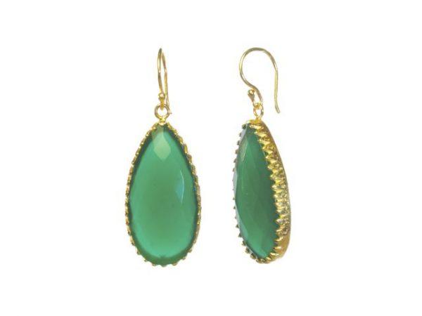 Facet geslepen groene onyx oorbellen in een gekartelde setting E1248-V