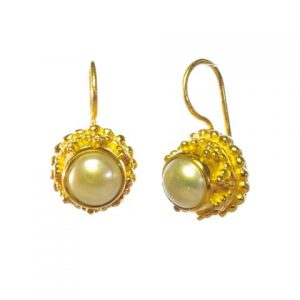 Earring Pearl Gold Plated Etruscan Antique Replica – E3b