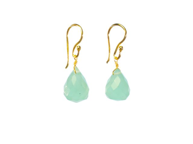 Aqua Chalcedony Pear Drops Earrings – E1290