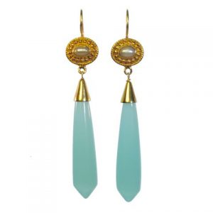 Long  Icicle Aqua Chalcedony And Pearl Earrings – E1122