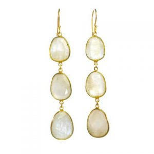 Earring Three Drops Moonstone In Fine Setting – E1362