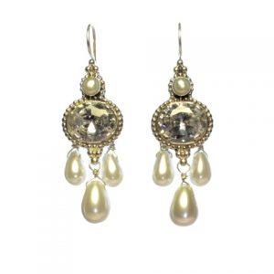 Antique Replica Earring Zircon And Pearl – E1438