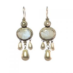 Earring Moonstone And Pearl Antique Replica – E1438