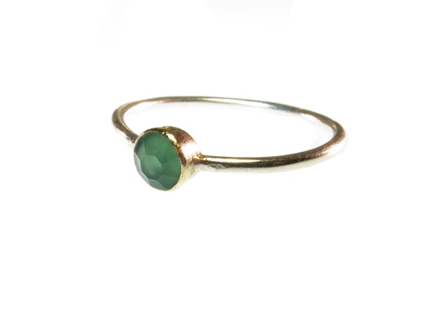 Skinny Silver Ring With Green Onyx – R1345