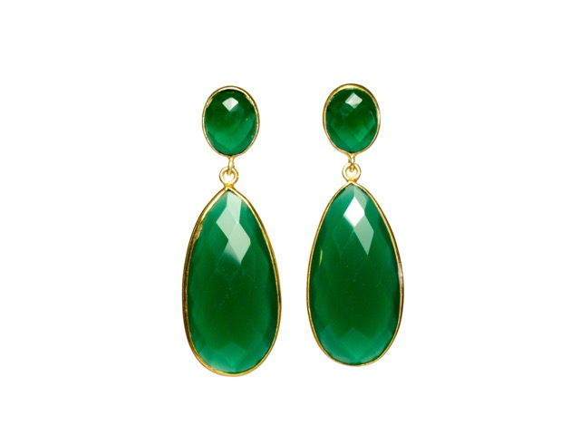 Long Green Onyx Earrings Studs – E13121