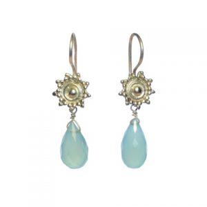 Silver Etruscan Earring Aqua Chalcedony – E4798
