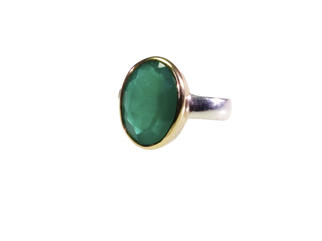 Oval Green Onyx Silver Ring In Gold Setting – R7704