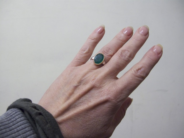 Oval Green Onyx Ring R7704