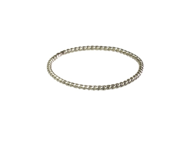 Silver Fine 0.5 Mm Skinny Twisted Stackring