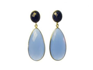 Long Chalcedony And Lapis Lazuli Earrings Studs – E13121