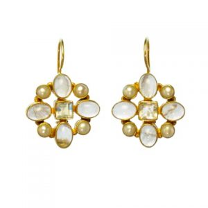 Hermitage Replica Earrings Rose Quarts, Moonstone And Pearl – E7702