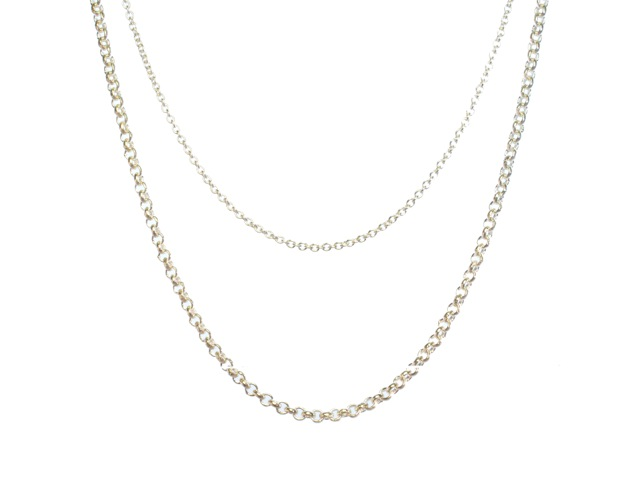 Silver Necklace Chain 42cm-90cm Length Thick Jasseron Of 2mm