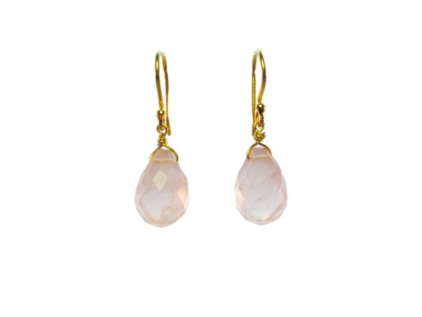 Rose Quartz Pear Drop Earrings – E1290