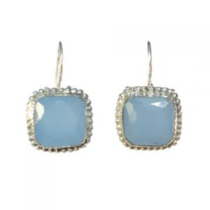Silver Earring With Square Facet Blue Chalcedony – E8307