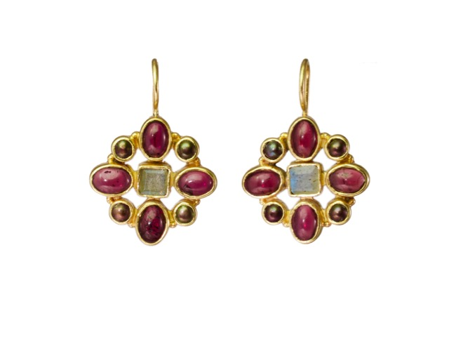 Hermitage Replica Earrings Garnet, Labradorite And Pearl – E7702