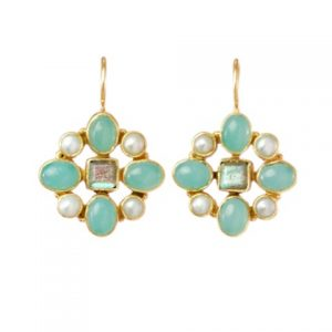 Hermitage Replica Earrings Chalcedony, Labradorite And Pearl – E7702