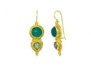 Asian Etruscan Green Onyx And Labradorite Earrings – E8917