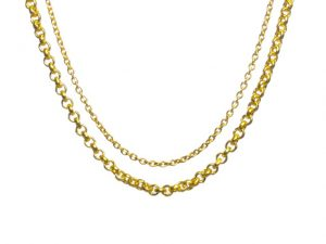 18k Gold Plated Necklace Chain 42cm-90cm Length Thick Jasseron Of 2mm Thick