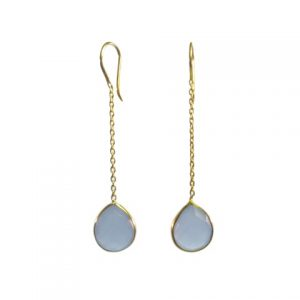 Chainlet Earring With Facet Cut Blue Chalcedony – E9546