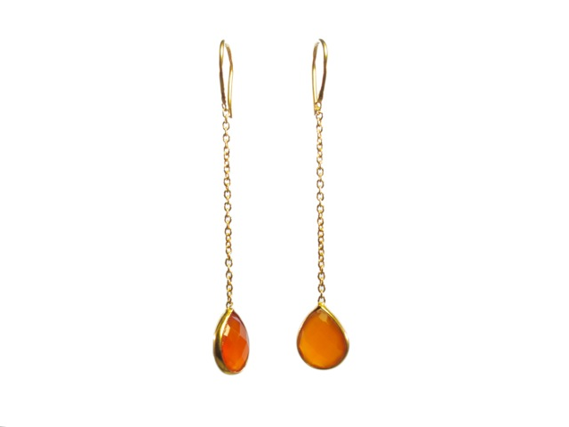 Chainlet Earring With Facet Cut Carnelian – E9546