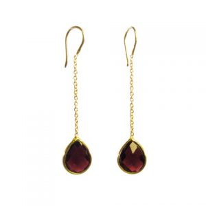 Chainlet Earring With Facet Cut Garnet – E9546